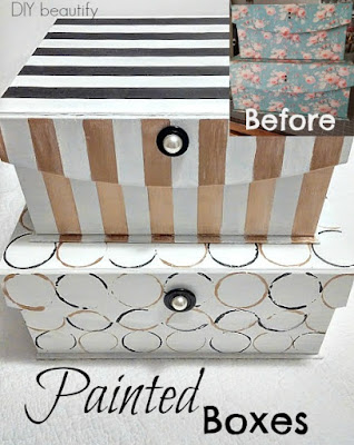 Transform storage boxes with chalk paint for a modern look! Get the tutorial at diy beautify!