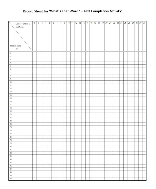Resources For Teachers Of ESL: Record Sheets