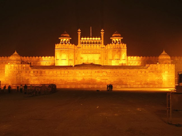 Red fort at night and night view of red fort