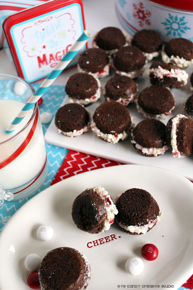 cheer, holiday baking, M&Ms, peppermint brownie whoopie pie