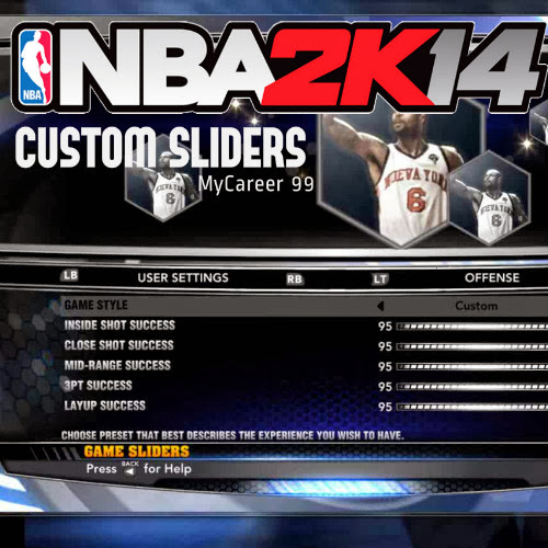 NBA 2k14 MyCareer 99 Sliders Hack : Custom Slider in