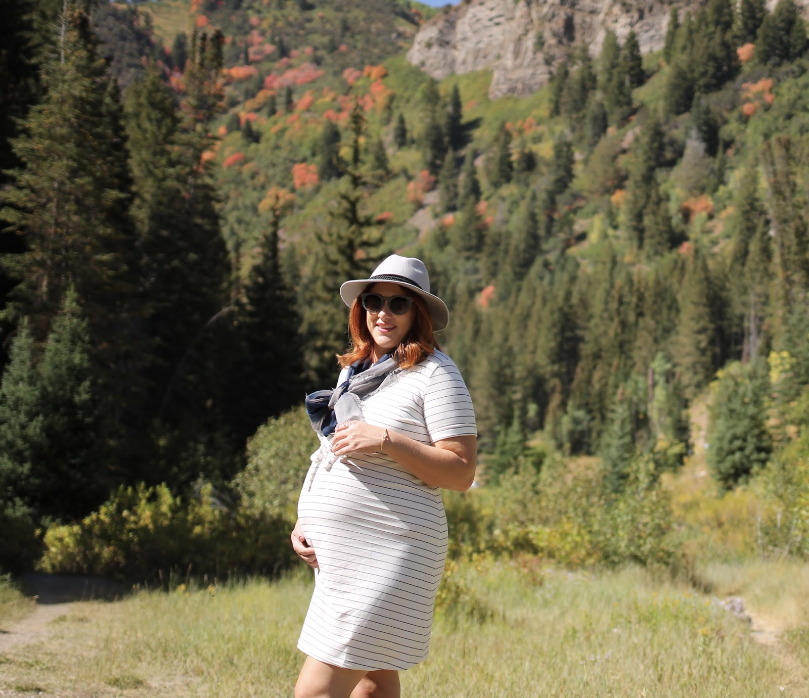 Summer & sage maternity dress, fall in the canyon, converse, maternity outfit