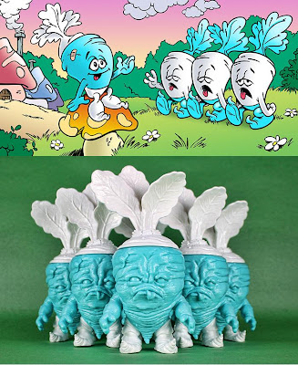 The Smurfs x Scott Tolleson Mixed Parts Deadbeet Vinyl Figures – Shmurfy Beets & Header Card