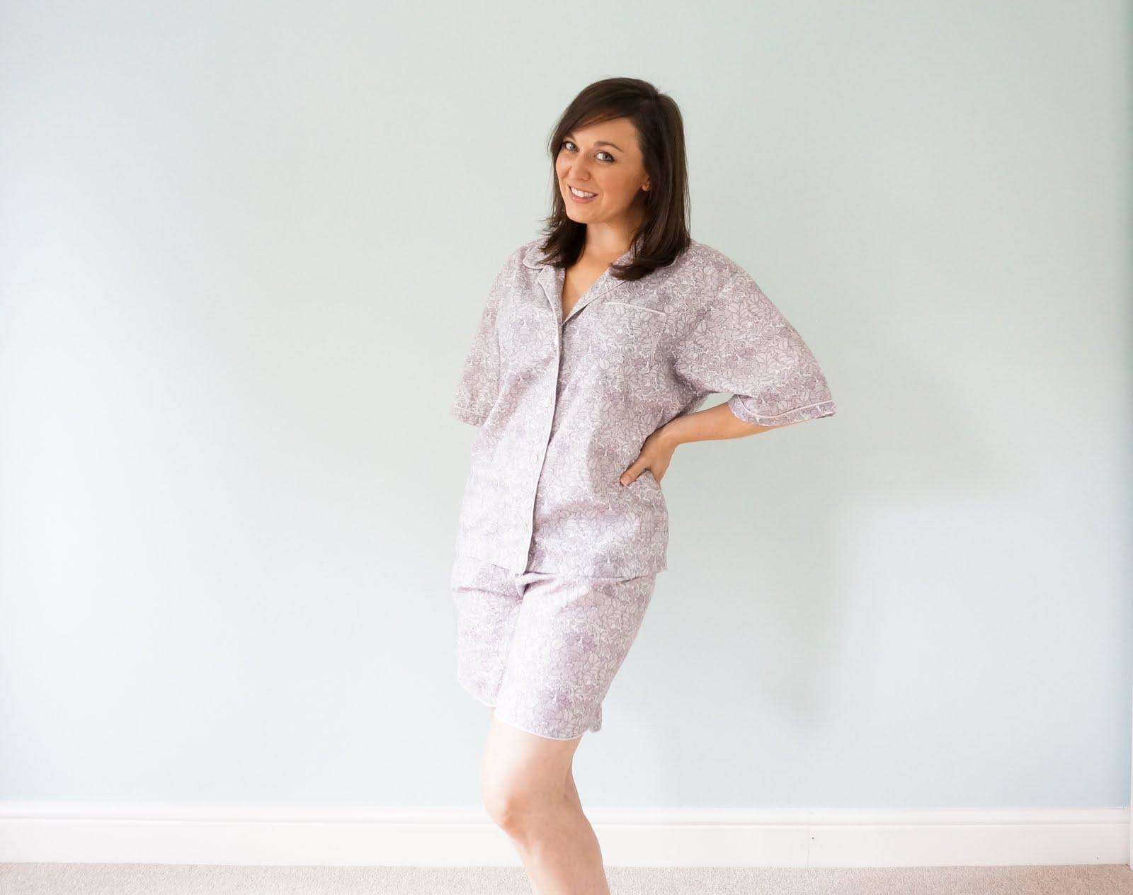 Liberty print pyjama set with piping
