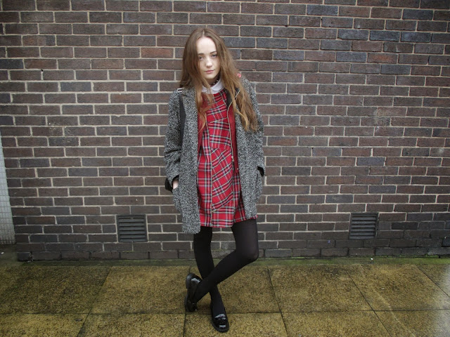 tartan dress, punk style, how to make a shift dress, homemade dress, clothes, punk fashion, spiked choker necklace, studded choker, patent loafers, topshop shirt, peter pan collar