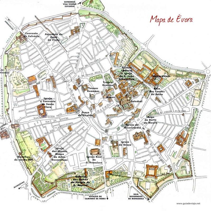 mapa evora Mapa turístico de Évora | Dicas de Lisboa e Portugal mapa evora