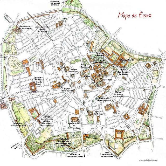 Mapa turístico de Évora