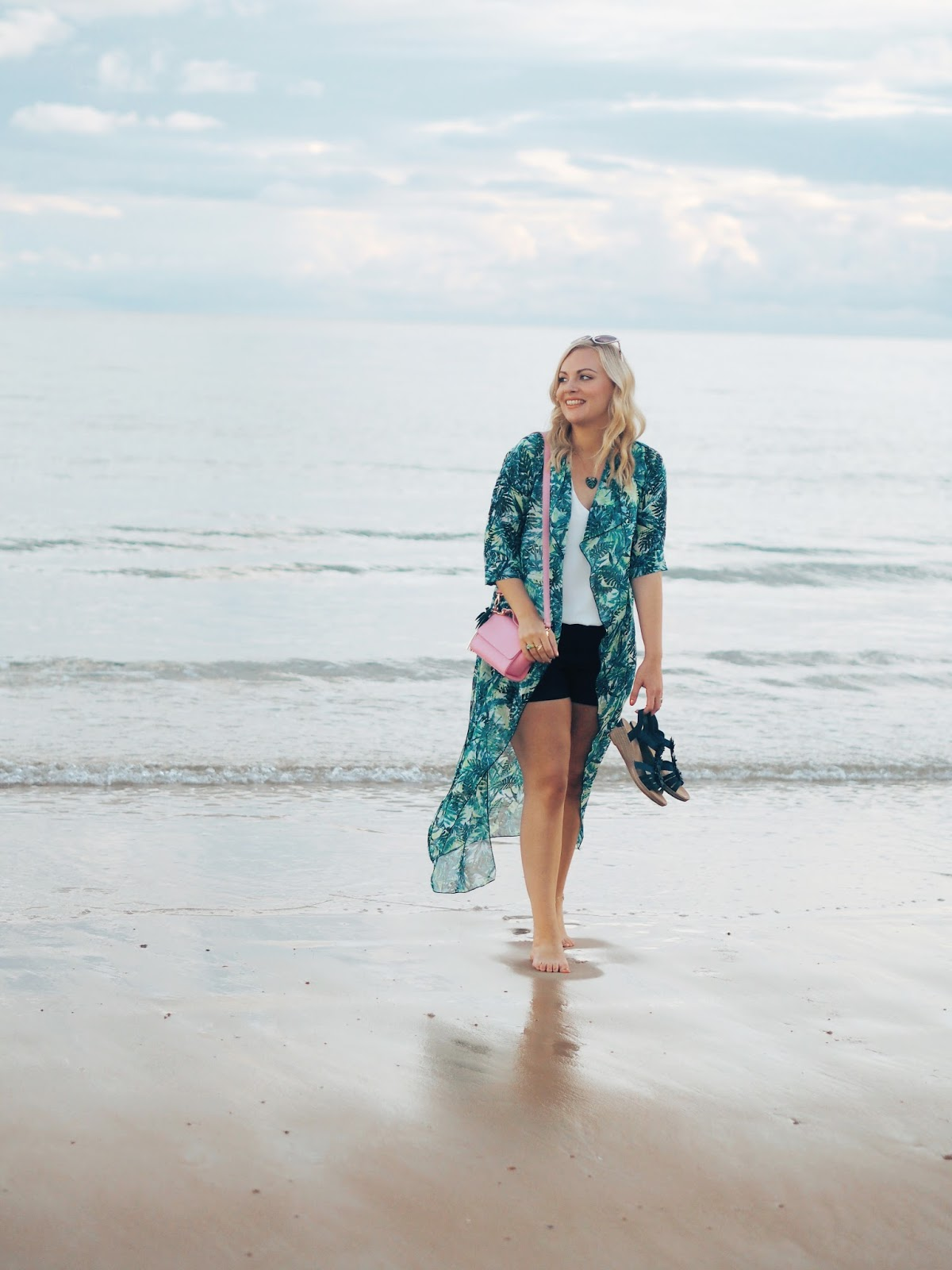 Palm Prints & The Most Perfect Beach, Katie Kirk Loves, UK Blogger, UK Fashion Blogger, Style Blogger, Style Influencer, Boohoo Style, St Brelades Bay, Jersey, Travel Blogger, Channel Islands, Outfit Post, Outfit Of The Day, Skinnydip London, Palm Print Fashion, And Mary Jewellery