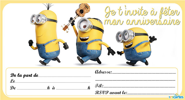 les petits rois cartes d 39 anniversaire gratuites les minions. Black Bedroom Furniture Sets. Home Design Ideas