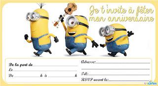 carte d'invitation anniversaire gratuite les Minions