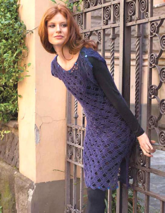 Вяжем платье из смеси мохера и шёлка.  Dress mohair and silk - Crochet