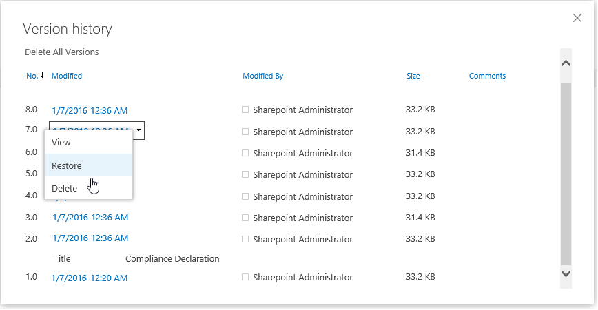 powershell to restore previous version in sharepoint online