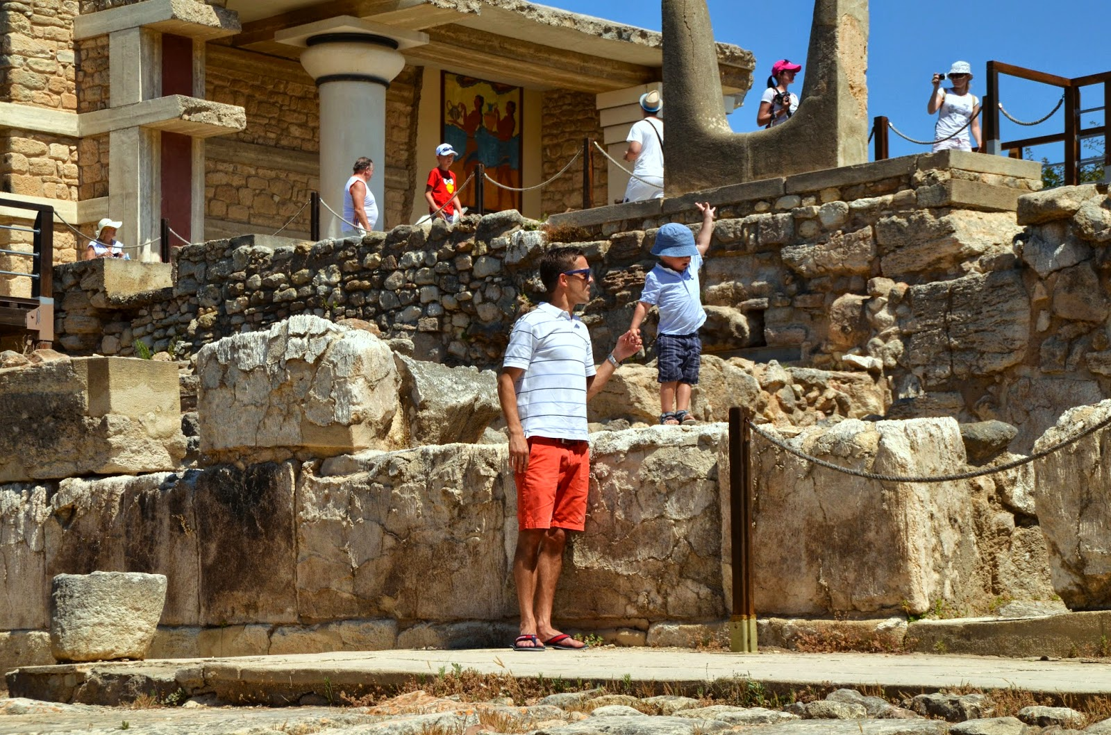 mens white polo red shorts knossos palace crete