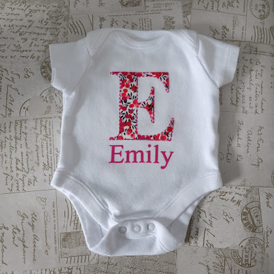 No Sew Fabric Applique Onesie  with Faux Stitching Flock HTV