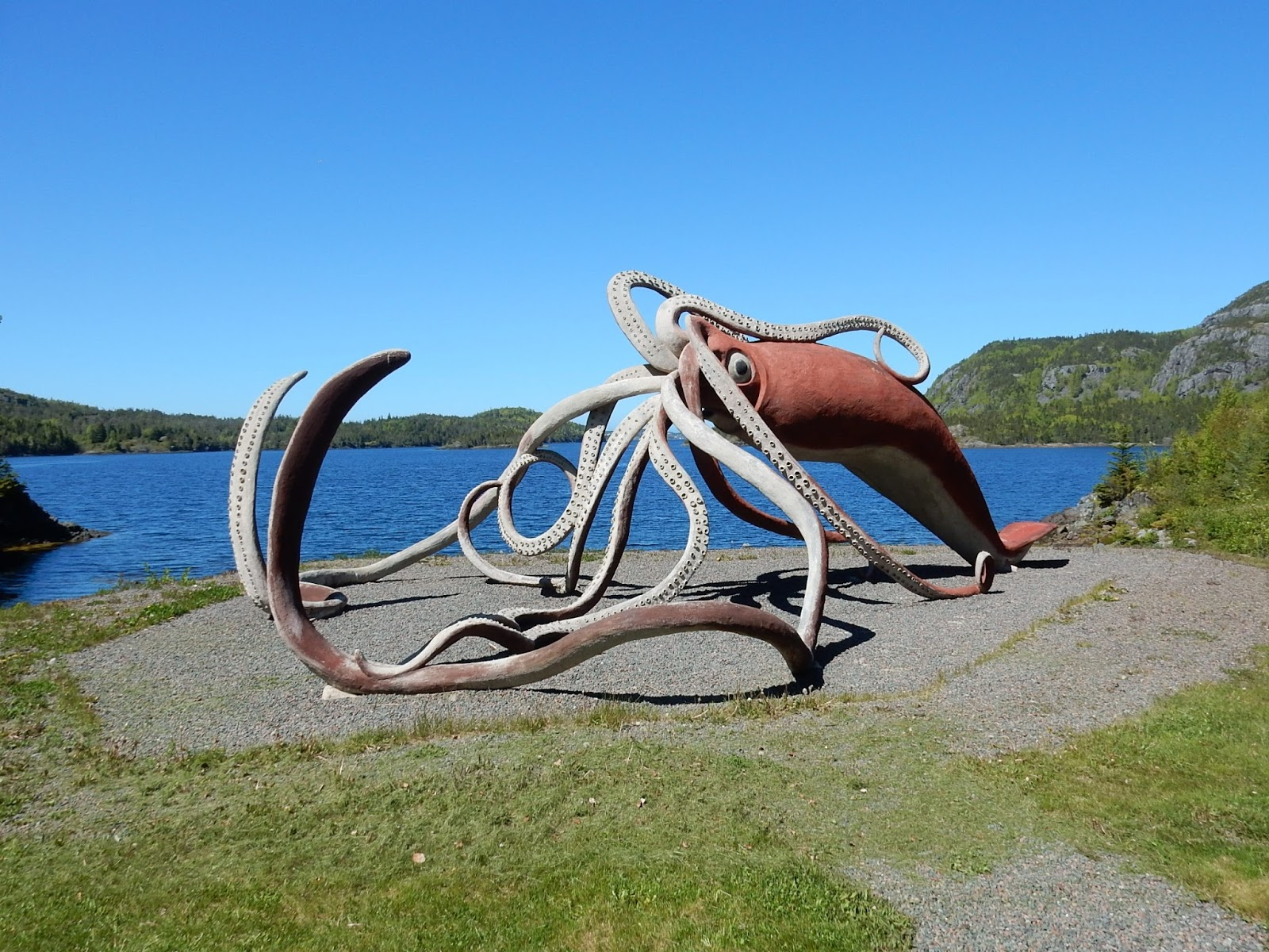 A huge sculpture of a giant squid.