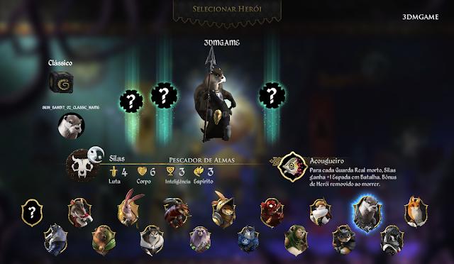 tela de seleção dos personagens.