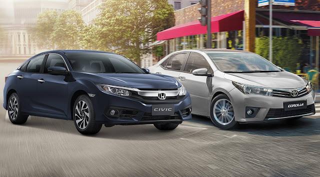 Toyota Corolla x Novo Civic 2017