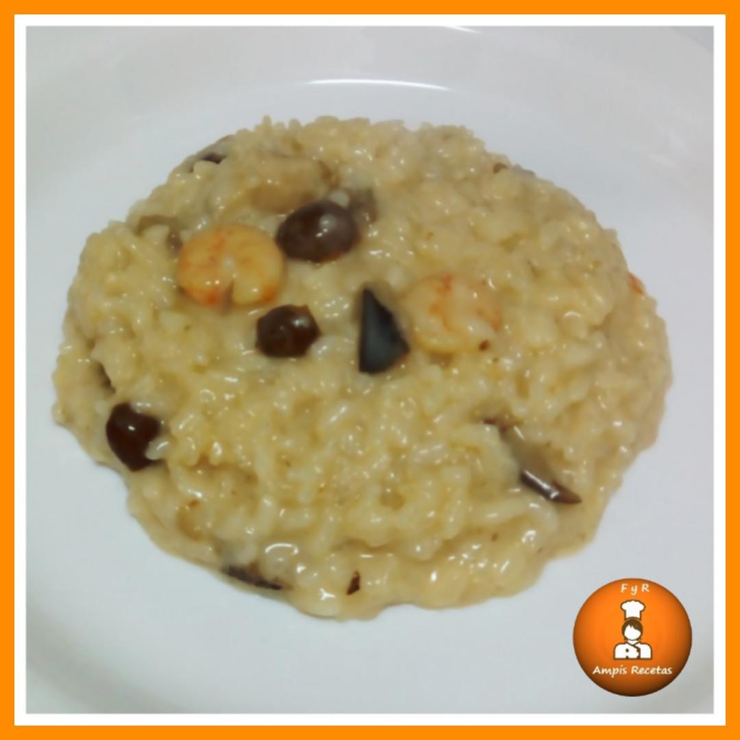 Risotto de langostinos y setas f cil y rico ampis recetas for Como cocinar risotto de setas