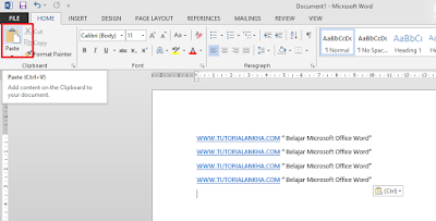 Cara Copy, Cut dan Paste text di microsoft Office word