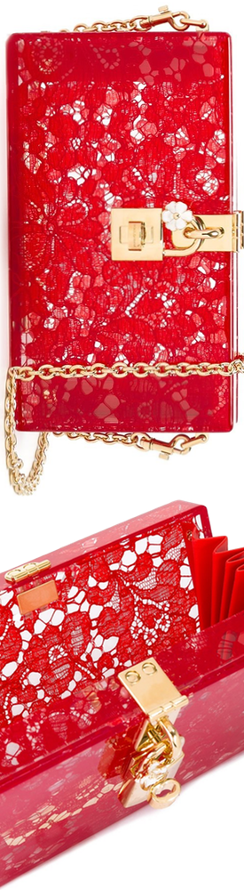 DOLCE & GABBANA  'Dolce' Box Clutch in Red