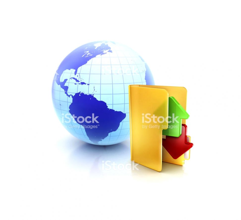 Globe Internet Ftp With Online Exchange And Sync Folder Icon Stock