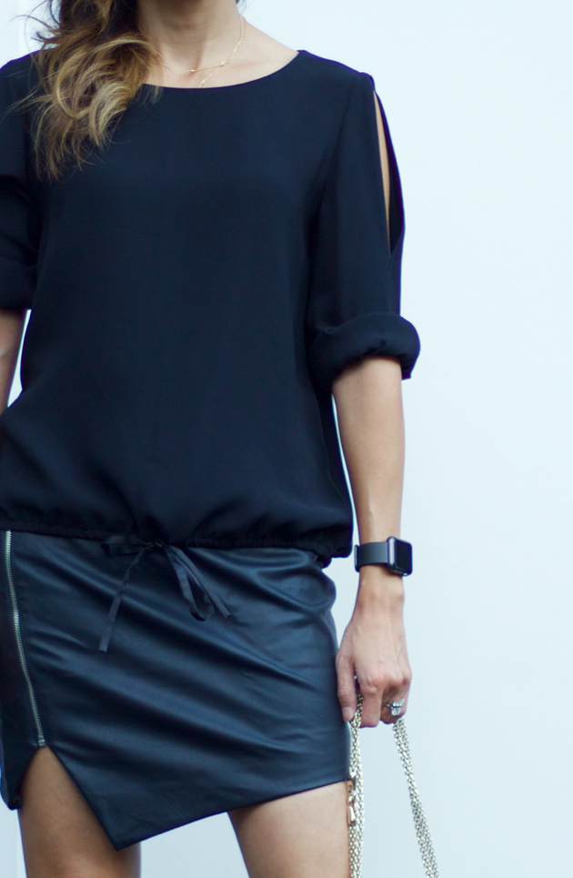 Outfit with Black Lafayette 148 New York Maxina Cold Shoulder Top, Lulus mini skirt, Baublebar delicate choker necklace