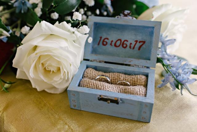 Wedding rings in treasure chest box