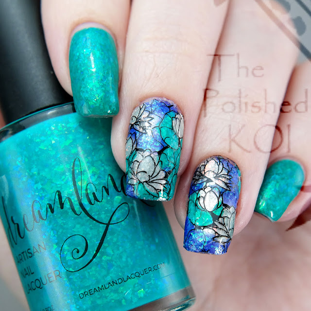 Dreamland Lacquer Lazy River Moyra waterlilies stamping