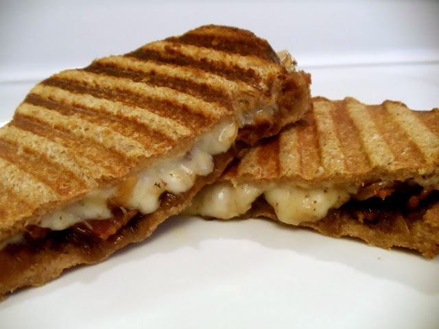 3-Cheese Onion Bacon Jam Panini's.  You want this in your belly NOW!  OMG- so good! What's not to love about melted cheese, bacon, and onions?   #KaceyCooks
