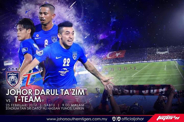 Live Streaming JDT FC vs T-Team Liga Super 2017 25 Februari 2017