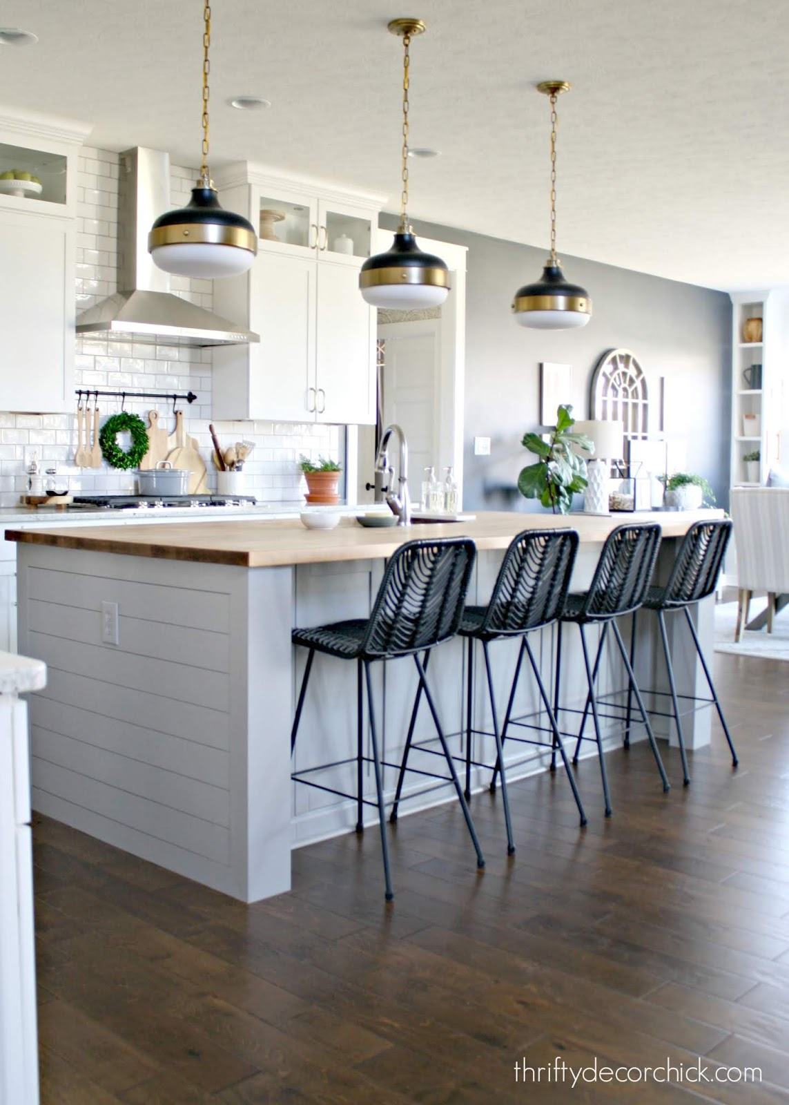 DIY kitchen island makeover with black stools