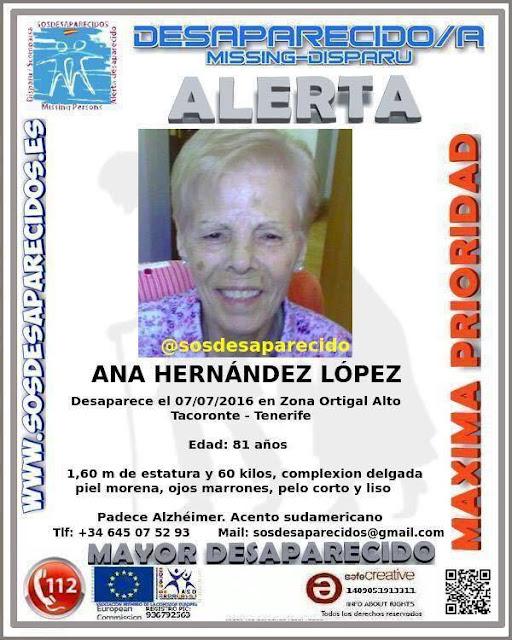 Mujer con Alzheimer desaparecida en Tacoronte Tenerife