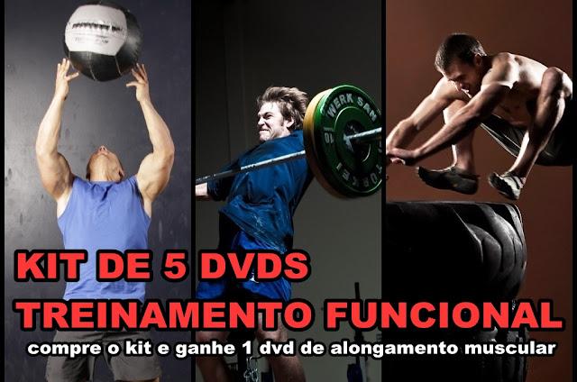 Compre 5 dvds de Treinamento Funcional e ganhe 1 dvd de Alongamento Muscular