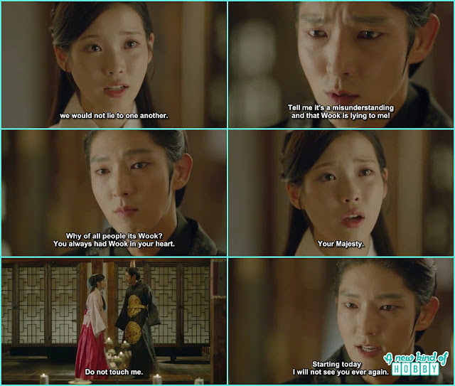 as king wang so don't like wook he while crying ask hae soo why it is wook of all the people and then said i will not see hae soo again - Moon Lovers Scarlet Heart Ryeo - Episode 19 (eng sub)