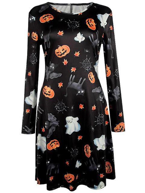 Pumpkin Halloween Print Mini Swing Dress