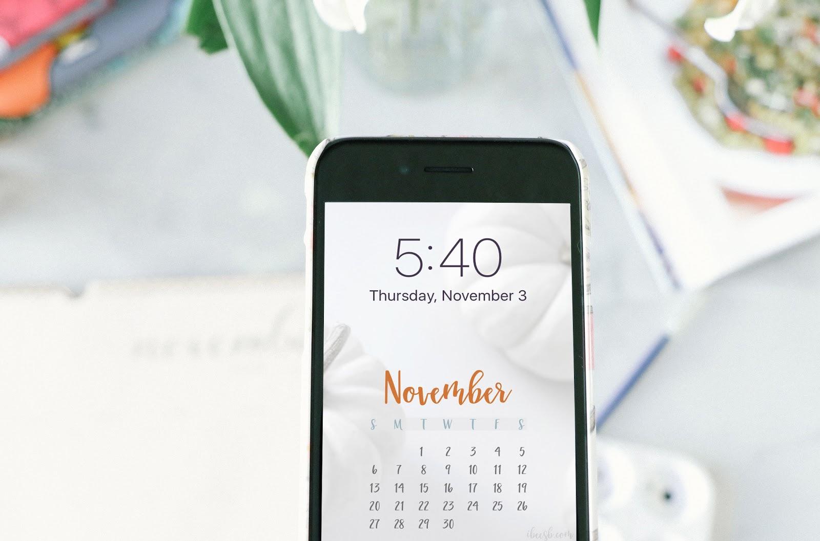 iPhone november calendar