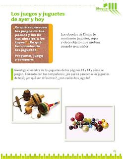 Exploración de la Naturaleza y la Sociedad 1er grado Bloque 3 Lección 4 Los juegos y juguetes de ayer y hoy