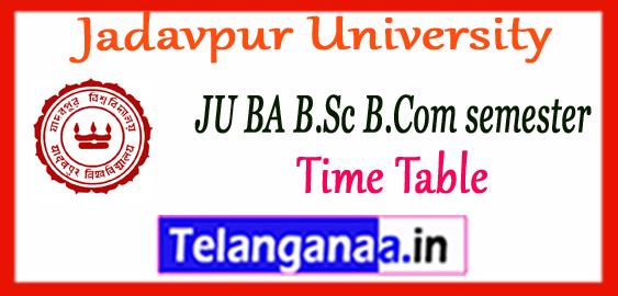 Jadavpur University UG Odd Semester Time Table 2017
