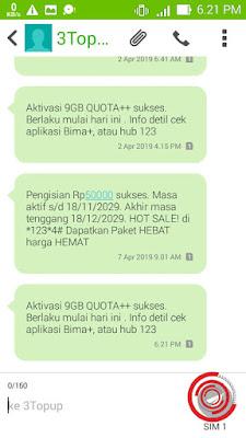 Nah setelah memasukan atau menginput kode vouchernya silakan kalian tunggu saja sms dari 3Topup tentang pengisian pulsa atau kuota, aktivasi paket atau yang lainnya.