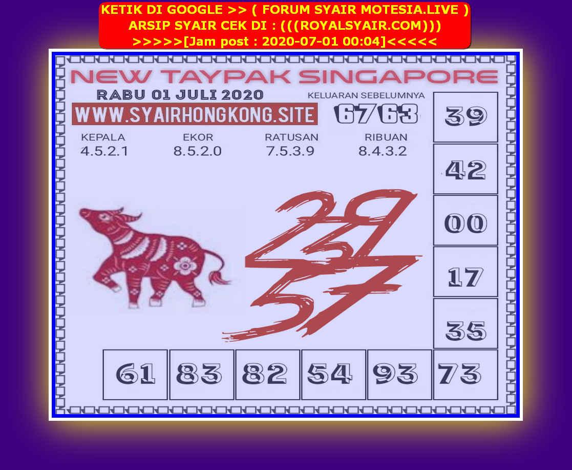 Kode syair Singapore Rabu 1 Juli 2020 218