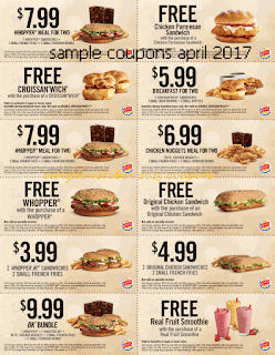 Burger King coupons for april 2017