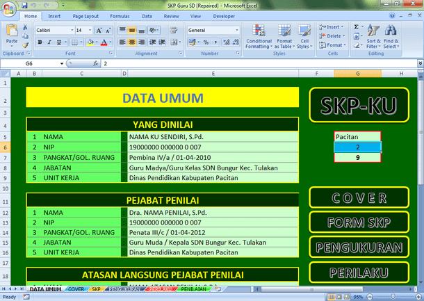 Contoh SKP Guru SD Download Format Microsoft Excel