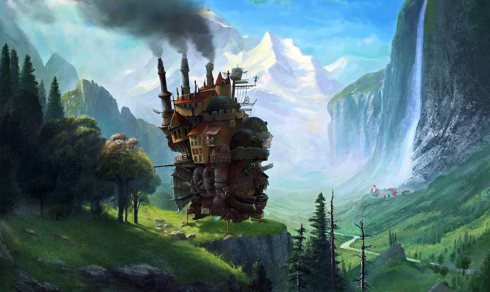 A mashup painting of Howl´s moving castle combined with a repainted version of Albert Bierstadt´s painting Staubbach Falls in Switzerland
