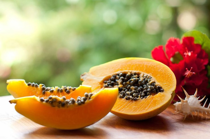Papaya contains milky substance called papain, a proteolytic enzyme that promotes digestion.