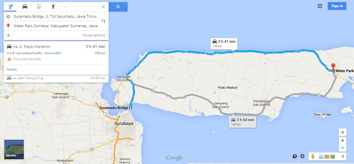 https://www.google.com/maps/dir/Suramadu+Bridge,+Surabaya,+East+Java,+Indonesia/Water+Park+Sumekar,+Sumenep+Regency,+East+Java,+Indonesia/@-7.0515962,113.0116769,10z/data=!3m1!4b1!4m13!4m12!1m5!1m1!1s0x2dd7f963d2d4fb4d:0x30462b46df526821!2m2!1d112.780243!2d-7.182374!1m5!1m1!1s0x2dd9e66c9cff9b0d:0xfb3e8b424f50ff43!2m2!1d113.840816!2d-6.990121?hl=en
