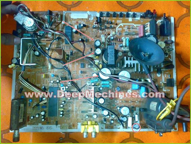 Perbaikan Kerusakan pada Mesin TV PANASONIC 14-Inch TC-14S33 - Susah Hidup/sebagian Layar Gelap