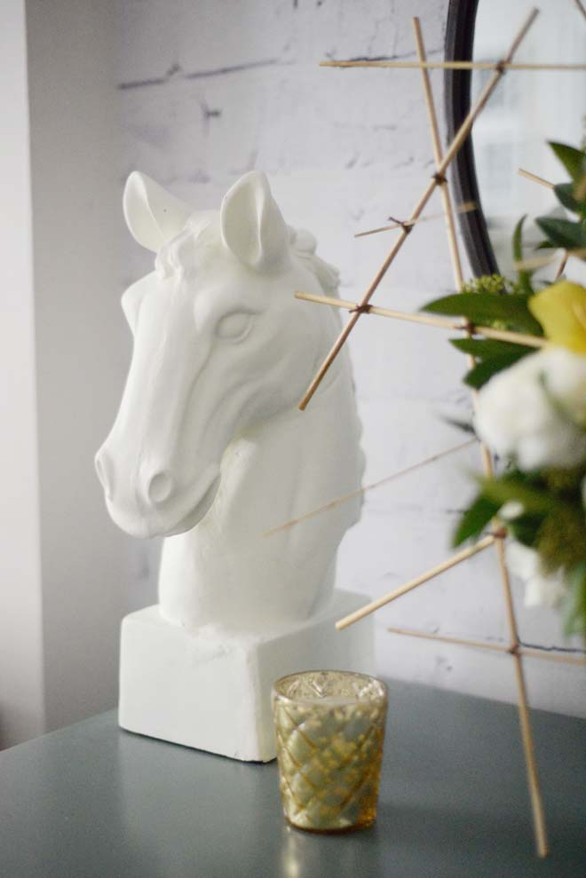 Wayfair Winter Refresh | Horse head sculpture | RamblingRenovators.ca