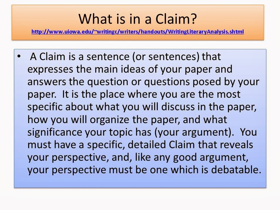 quinn english  how to write a claim for the literary