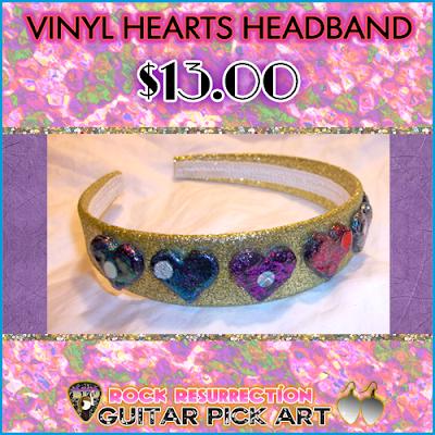 Vinyl Hearts Headband $13.00