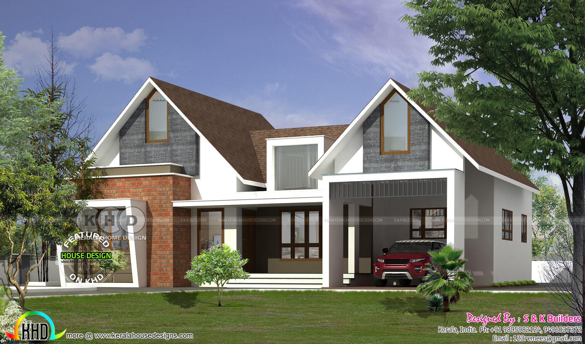 Colonial type single floor home 1800 square feet kerala for Floor types for homes